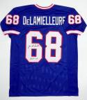 Joe DeLamelleure Autographed Blue Pro Style Jersey HOF Insc TheJerseySource Auth