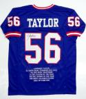 Lawrence Taylor Autographed Blue Pro Style Stat Jersey- JSA Witnessed Auth *Black*