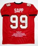 Warren Sapp Autographed Red Pro Style Stat Jersey With HOF- JSA Witnessed Auth
