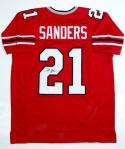 Deion Sanders Autographed Red W/ Black Pro Style Jersey- JSA Witnessed Auth