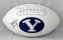 Jim McMahon Autographed BYU Cougars Logo Football  *Left- JSA W Auth