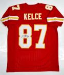 Travis Kelce Autographed Red Pro Style Jersey- JSA Witnessed Authenticated