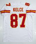 Travis Kelce Autographed White Pro Style Jersey- JSA Witnessed Authenticated