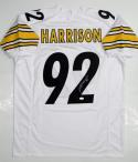 James Harrison Autographed White Pro Style Jersey- JSA Witness Authenticated