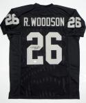 Rod Woodson Autographed Black Pro Style Jersey with HOF- JSA Witness Authenticated