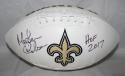 Morten Andersen HOF 2017 Autographed New Orleans Saints Logo Football JSA W Auth