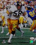 Jack Lambert HOF Autographed Steelers 8x10 Against Chargers PF Photo- JSA W Auth