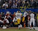 Santonio Holmes Autographed Steelers 8x10 Leaping TD Catch w/ SB MVP Photo- JSA W Auth