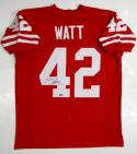 TJ Watt Autographed Red College Style Jersey- JSA W Auth/Holo