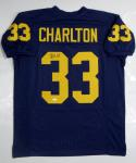 Taco Charlton Autographed Navy Blue College Style Jersey- JSA W Auth