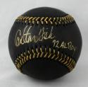 Carlton Fisk HOF Autographed Rawlings OML Black Baseball W/ AL ROY- JSA W Authenticated