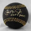 Cal Ripken Jr Autographed Black Rawlings OML Baseball W/ HOF- JSA W Authenticated