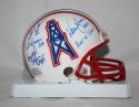 Warren Moon w/ Run N Shoot Autographed Houston Oilers Mini Helmet- JSA W Auth
