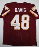 Stephen Davis Autographed Maroon Pro Style Jersey- Jersey Source Auth