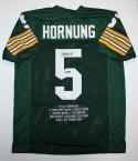 Paul Hornung Autographed Green Pro Style Stat Jersey- JSA Witness Auth