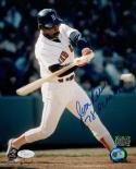 Jim Rice Autographed Boston Red Sox 8x10 Swinging In Blue Helmet Photo- JSA Auth