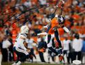 Emmanuel Sanders Autographed Broncos 8x10 Leap for Ball  Photo- JSA Witness Auth