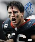 Brian Cushing Autographed 8x10 B&W Bloody Face Color *Blue Photo- JSA W Auth