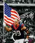 JJ Watt Autographed Houston Texans 8x10 Spotlight Flag PF. Photo- JSA W Auth