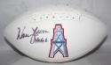 Warren Moon Autographed Houston Oilers Logo Football W/ HOF *Left side- JSA W Auth