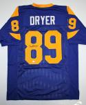 Fred Dryer Autographed Blue Pro Style Jersey- SGC Auth