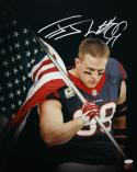 JJ Watt Autographed Houston Texans 16x20 American Flag Photo- JSA W Auth/Holo