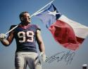 JJ Watt Autographed Houston Texans 16x20 Texas Flag Photo- JSA Witnessed Auth/Holo