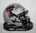 Michael Crabtree Autographed Texas Tech Grey Schutt Mini Helmet- JSA W Auth