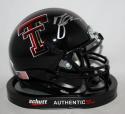Michael Crabtree Autographed Texas Tech Black Schutt Mini Helmet- JSA W Auth