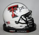 Michael Crabtree Autographed Texas Tech White Schutt Mini Helmet- JSA W Auth