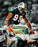 Jason Taylor Autographed Miami Dolphins 16x20 B&W/Color Celebrating PF Photo JSA W Authenticated