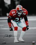 Deion Sanders Autographed Falcons 16x20 B&W/Color Photo *Black- JSA Witness Authenticated
