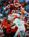 Travis Kelce Autographed Kansas City 16x20 Hurdle vs Dolphins Photo- JSA W Auth