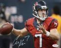 Case Keenum Autographed Texans 8x10 About to Pass Red Jersey Photo- JSA Authenticated