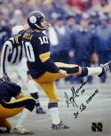 Roy Gerela Autographed Steelers 8x10 Kicking Photo 3x SB Champs inscribed, JerseySource Authentication