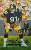 Kevin Greene HOF Autographed Pittsburgh Steelers Goal Line Art Card- JSA W Auth