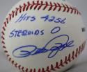 Pete Rose Hits 4256 Steroids 0 Autographed Rawlings OML Baseball- JSA W Auth