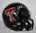 Michael Crabtree Signed Texas Tech Full Size Black Schutt Helmet- JSA W Auth