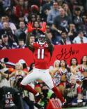 Julio Jones Autographed Atlanta Falcons 16x20 Super Bowl Catch PF Photo- JSA Witness Auth