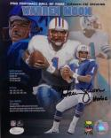 Warren Moon Autographed Houston Oilers 8x10 HOF Poster PF Photo W/ HOF- JSA W Auth