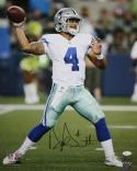 Dak Prescott Signed Dallas Cowboys 16x20 Vertical Passing PF. Photo- JSA W Auth