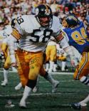 Jack Lambert HOF Autographed Steelers 16x20 Against Chargers PF Photo- JSA W Auth