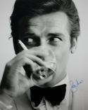 Roger Moore Autographed 16x20 James Bond Having a Drink - JSA Authenticated