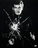 Roger Moore Autographed 16x20 James Bond Shattered Glass - JSA Authenticated