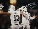 Johnny Manziel Autographed 16x20 Leaping with Mike Evans Photo W/ HT- JSA Witness Auth