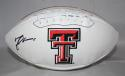 Michael Crabtree Autographed Texas Tech Logo Football - JSA Witness Authenticated