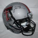 Michael Crabtree Signed Texas Tech Full Size Grey Schutt Helmet - JSA Witness Auth