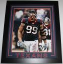JJ Watt Signed Houston Texans Framed 16x20 Bloody Front View Photo- JSA W Auth/Holo