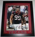 JJ Watt Autographed Houston Texans Framed/Red Matting 16x20 Bloody Face Photo- JSA W Auth