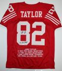 John Taylor Autographed Red Pro Style STAT Jersey W/ SB Champs- JSA Witness Authenticated